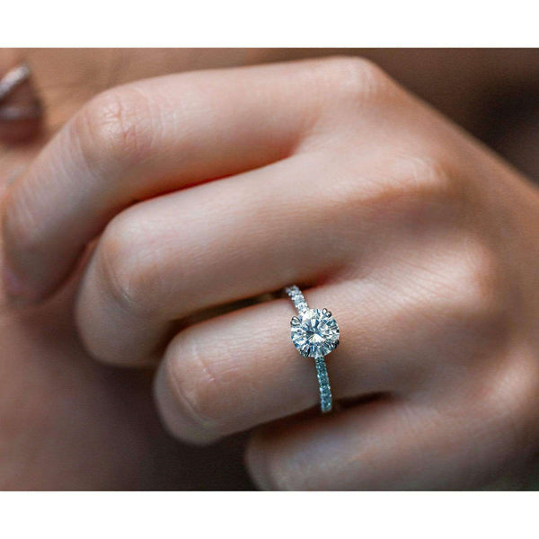 Kobelli Moissanite and Lab Grown Diamond Engagement Ring 1 3/4 CTW 14k White Gold (HI/VS, DEF/VS)
