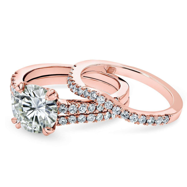 Moissanite and Lab Grown Diamond 3pc Bridal Rings Set 2 1/2 CTW 14k Rose Gold (GH/VS, DEF/VS)