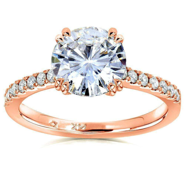 Kobelli Forever One Moissanite and Lab Grown Diamond Engagement Ring 2 1/10 CTW 14k Rose Gold (DEF/VS)