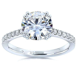 Kobelli Moissanite and Lab Grown Diamond Engagement Ring 2 1/10 CTW 14k White Gold (HI/VS, DEF/VS)