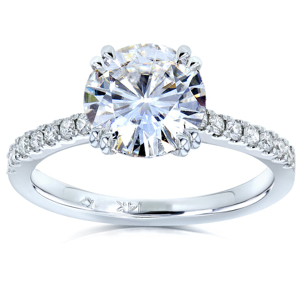 Kobelli Moissanite and Lab Grown Diamond Engagement Ring 1 3/4 CTW 14k White Gold