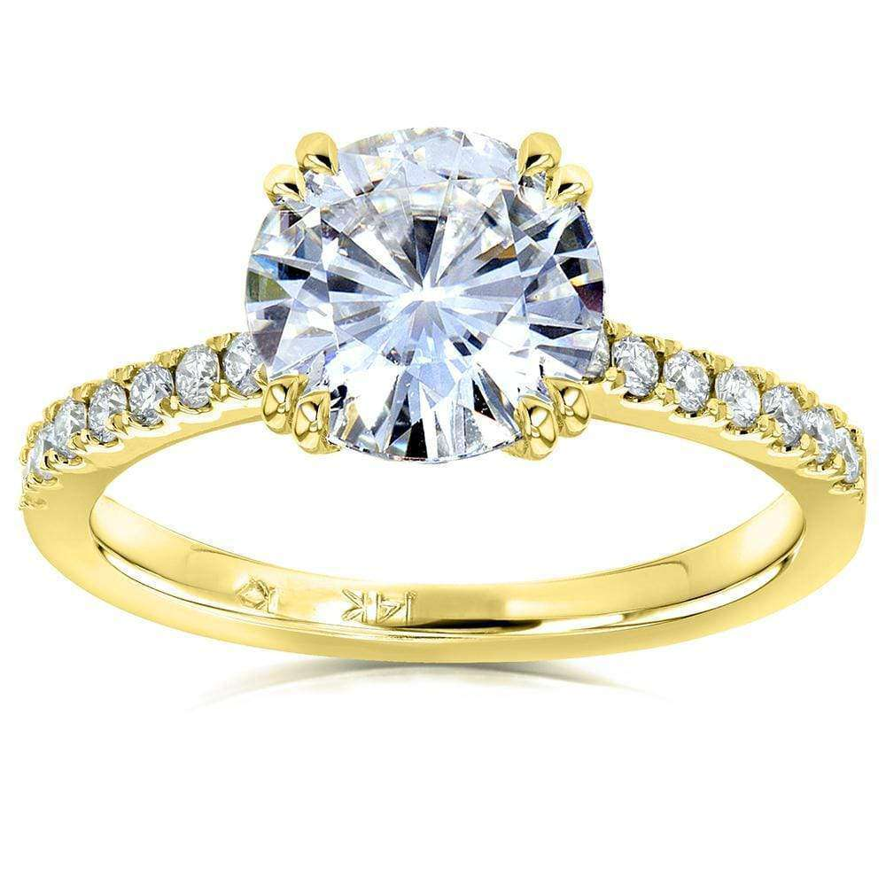 Cheap Moissanite and Lab Grown Diamond Engagement Ring 2 1/10 CTW 14k Yellow Gold (HI/VS DEF/VS) - 10.5