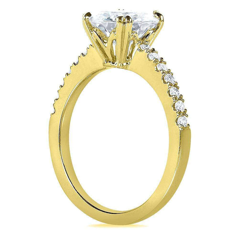 Kobelli Round-cut Moissanite Engagement Ring with Diamond 2 1/10 CTW 14k Yellow Gold