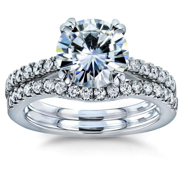 Kobelli Moissanite and Lab Grown Diamond Bridal Rings Set 2 1/3 CTW 14k White Gold (HI/VS, DEF/VS)