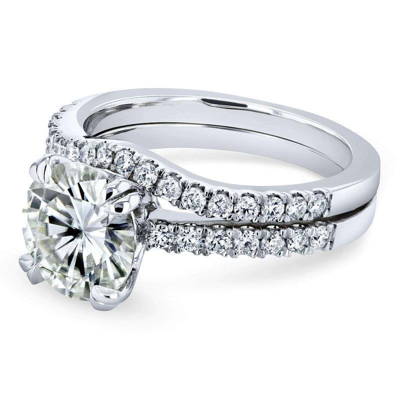 Kobelli Round Brilliant Moissanite and Diamond Bridal Set 2 1/3 CTW 14k White Gold (HI/VS, GH/I)