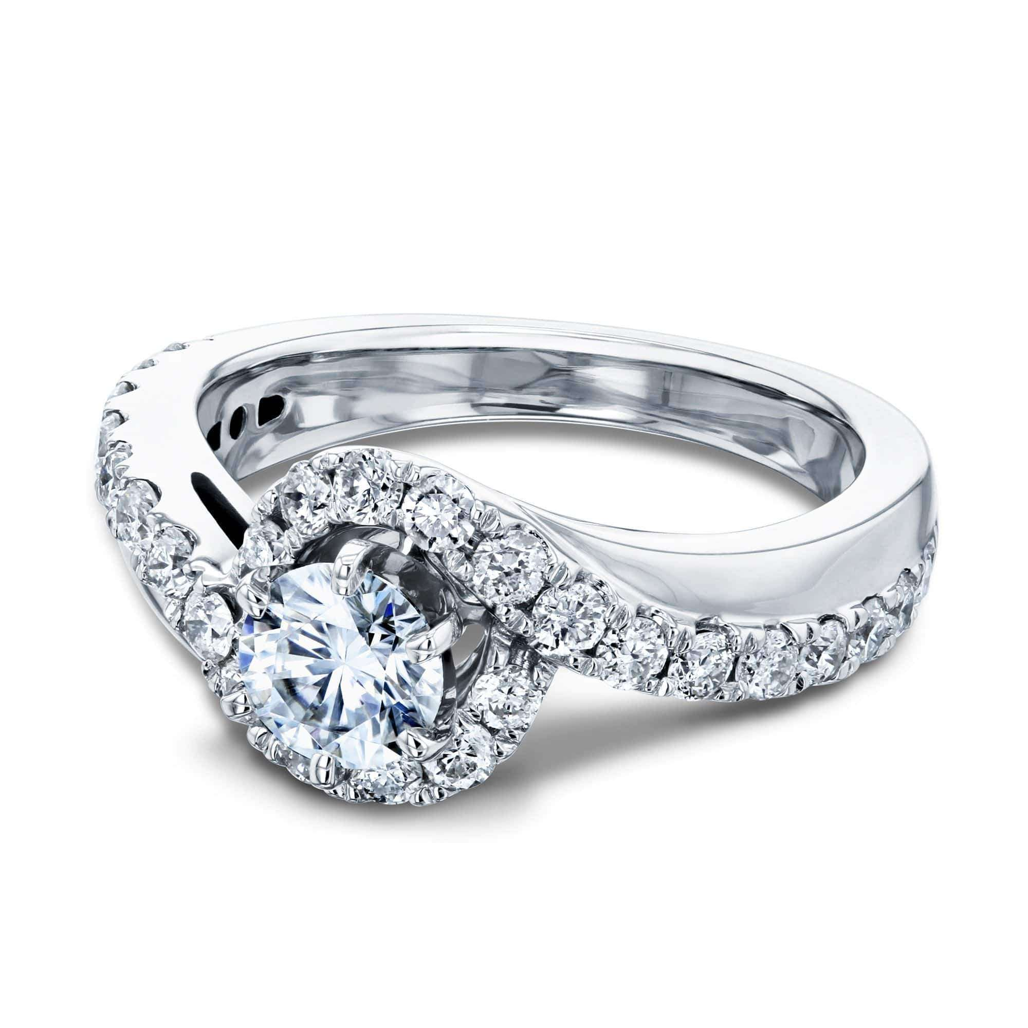 Coupons Moissanite Bypass Curved Ring 1 CTW 14k White Gold - 10.5 Forever One D-E-F