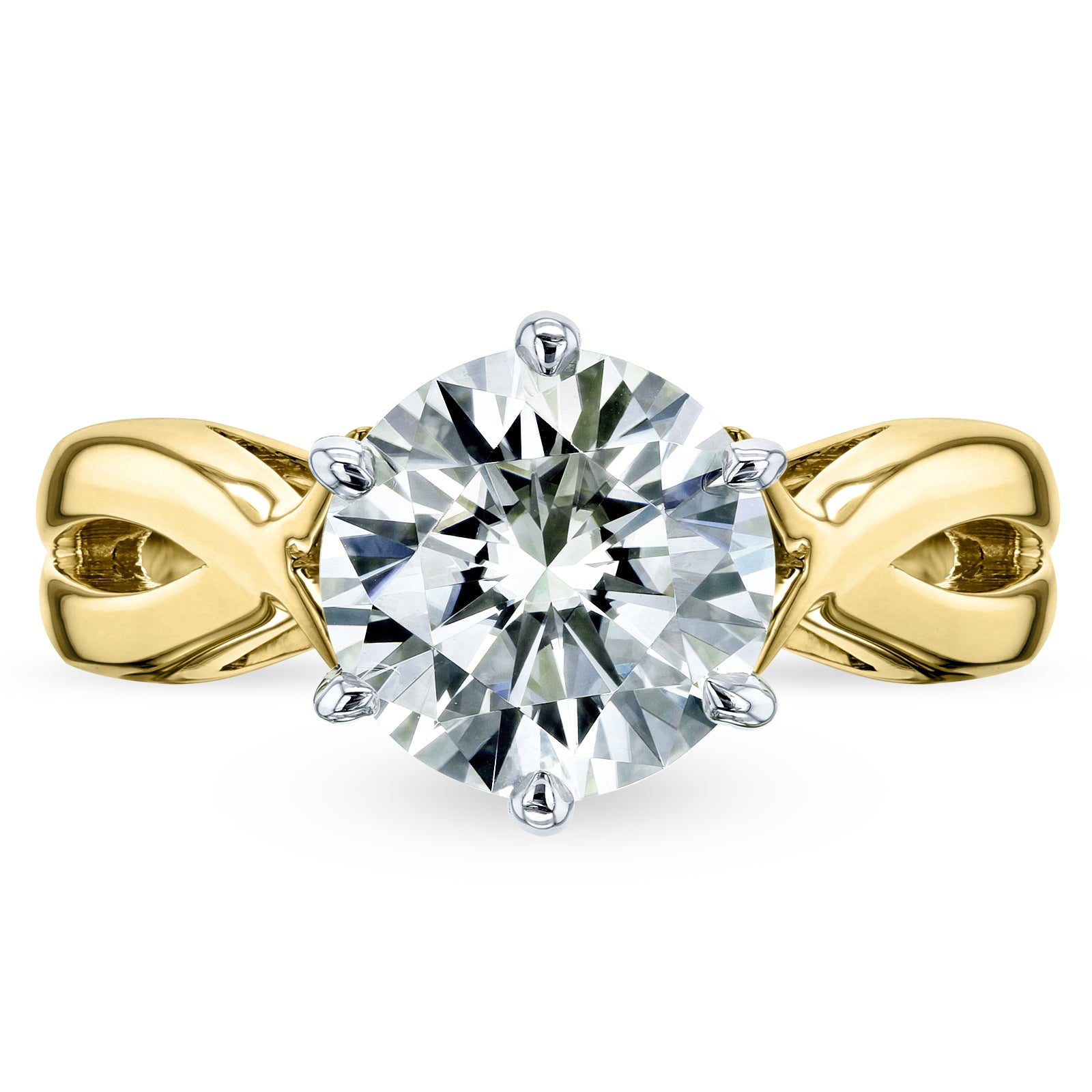 Discounts 1.9ct Moissanite 6-Prong Crossover Solitaire Ring - 8.5 yellow-gold Forever One D-E-F