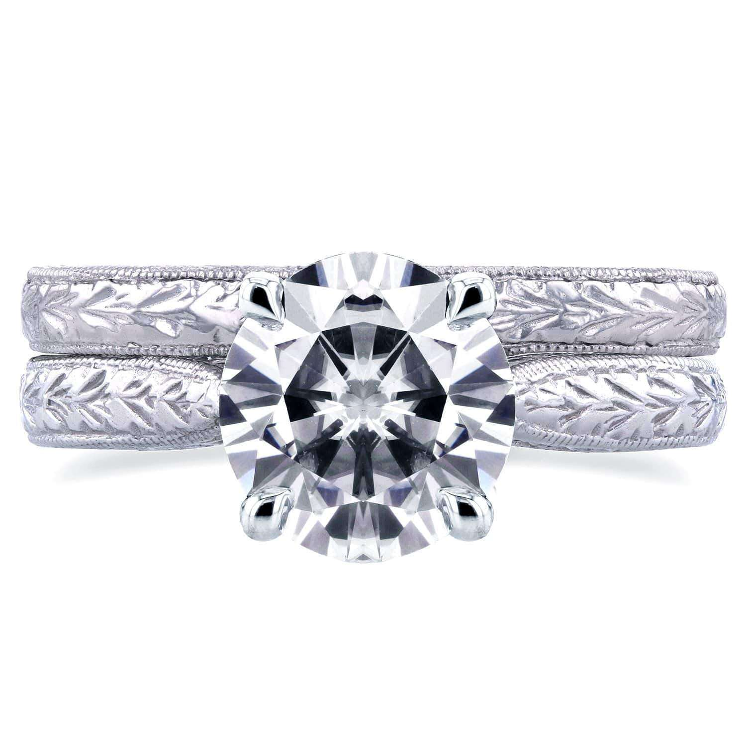 Promos Near-Colorless (F-G) Moissanite and Diamond Antique Cathedral Bridal Set 1 1/2 CTW in 14k White Gold - 6.5