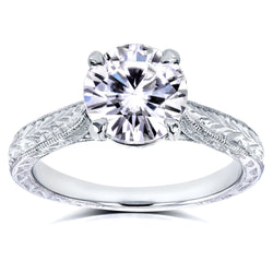 Kobelli Antique Style Near-Colorless (F-G) Moissanite Engagement Ring with Diamond 1 1/2 CTW 14k White Gold