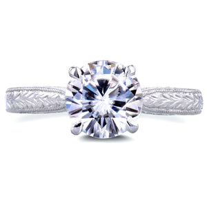 Antique Style Moissanite Engagement Ring with Diamond 1 1/2 CTW 18k White Gold
