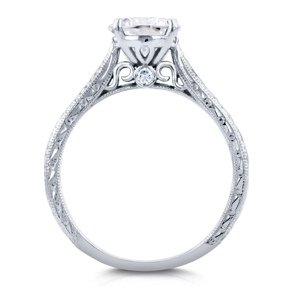 Kobelli Antique Style Moissanite Engagement Ring with Diamond 1 1/2 CTW 18k White Gold