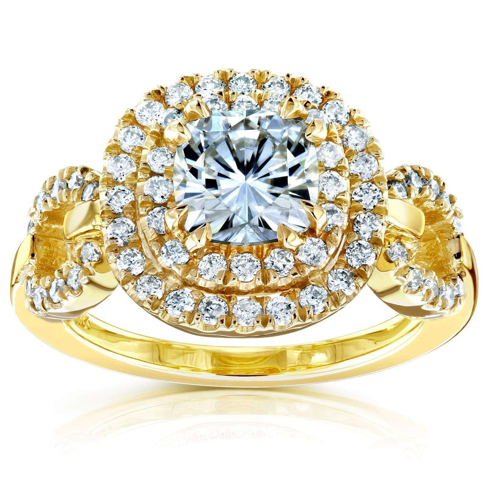 Promos Cushion-cut Moissanite Engagement Ring with Halo Diamond 1 3/5 CTW 14k Yellow Gold - 7.5