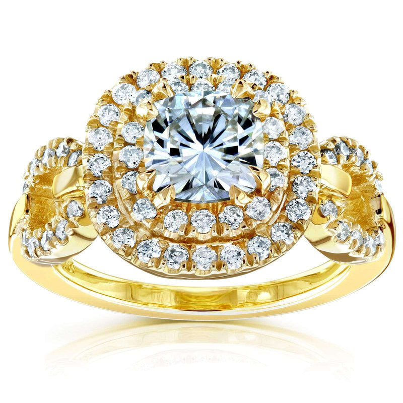 Kobelli Cushion-cut Moissanite Engagement Ring with Halo Diamond 1 3/5 CTW 14k Yellow Gold