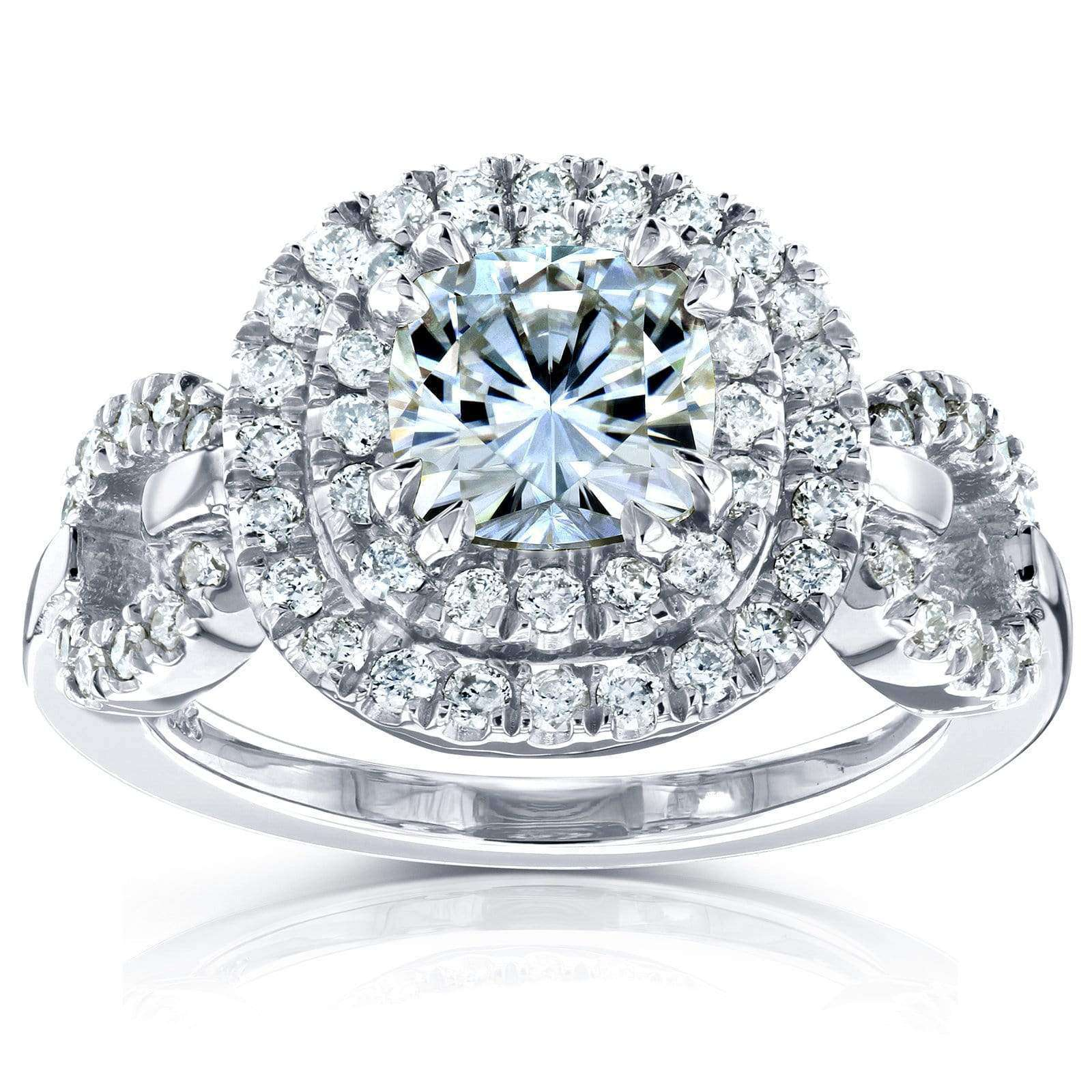 Coupons Cushion-cut Moissanite Engagement Ring with Halo Diamond 1 3/5 CTW 14k White Gold - 9.5