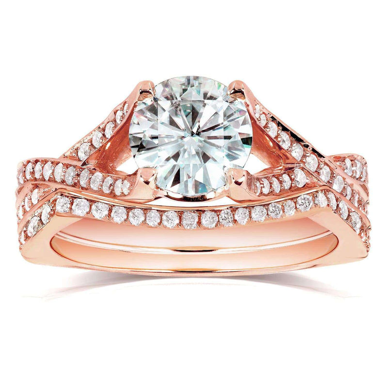 Kobelli Round Moissanite Bridal Set with Diamond 1 2/5 CTW 14k Rose Gold