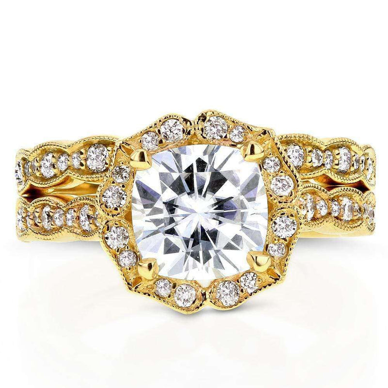 Kobelli Cushion Moissanite and Diamond Floral Bridal Set 2 1/6 CTW 14k Yellow Gold (FG/VS, GH/I)