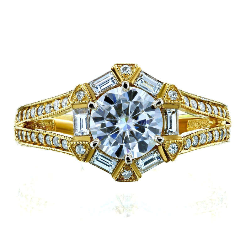 Kobelli Art Deco Moissanite and Diamond Accent Engagement Ring 1 1/2 CTW 14k Yellow Gold