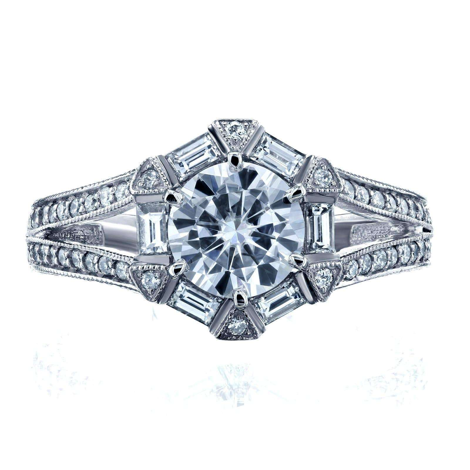 Coupons Art Deco Moissanite and Diamond Accent Engagement Ring 1 1/2 CTW 14k White Gold - 6.5