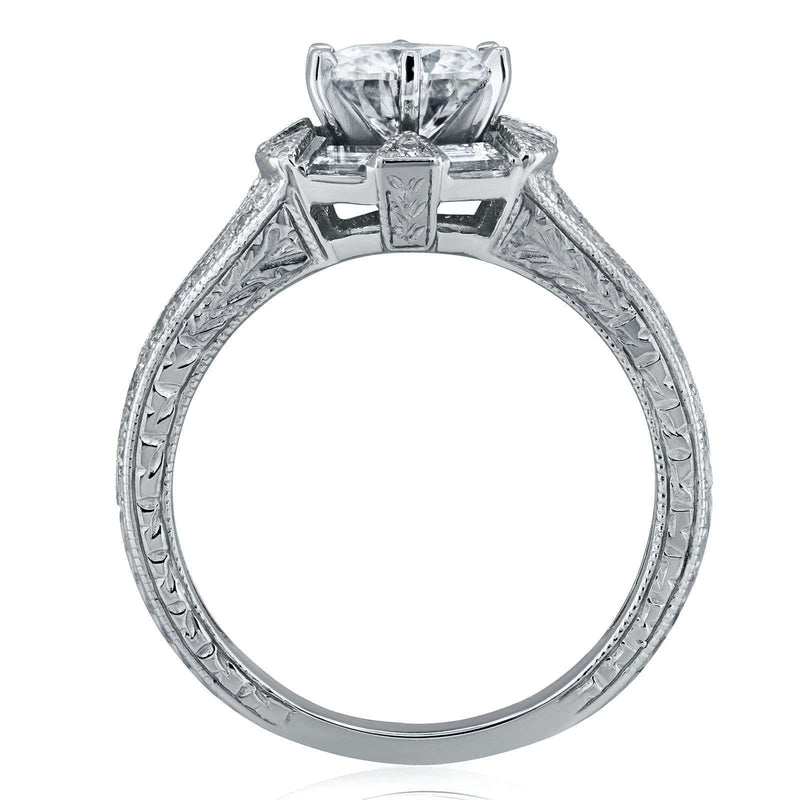Kobelli Art Deco Moissanite and Diamond Accent Engagement Ring 1 1/2 CTW 14k White Gold