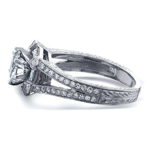 Art Deco Forever One (D-F) Moissanite Engagement Ring with Diamond 1 1/2 CTW 14k White Gold