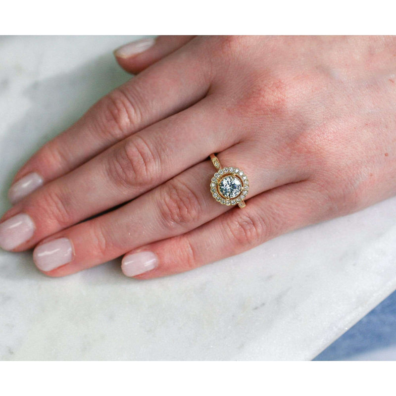 Kobelli Antique Floral Moissanite Engagement Ring with Diamond 1 1/3 CTW 14k Yellow Gold