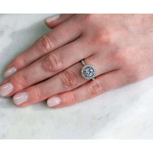 Antique Floral Moissanite Engagement Ring with Diamond 1 1/3 CTW 14k White Gold