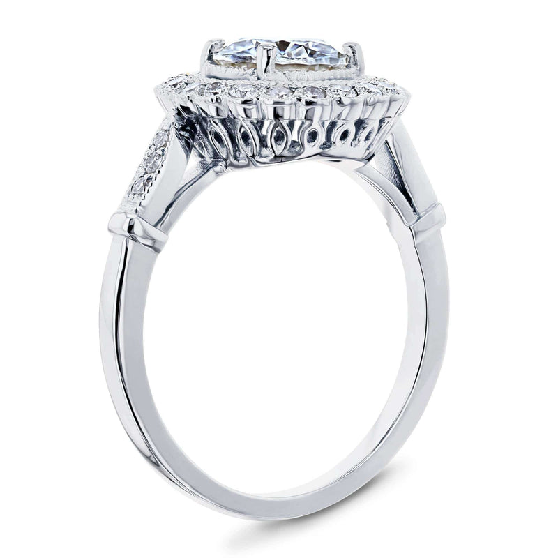 Kobelli Antique Floral Moissanite Engagement Ring with Diamond 1 1/3 CTW 14k White Gold
