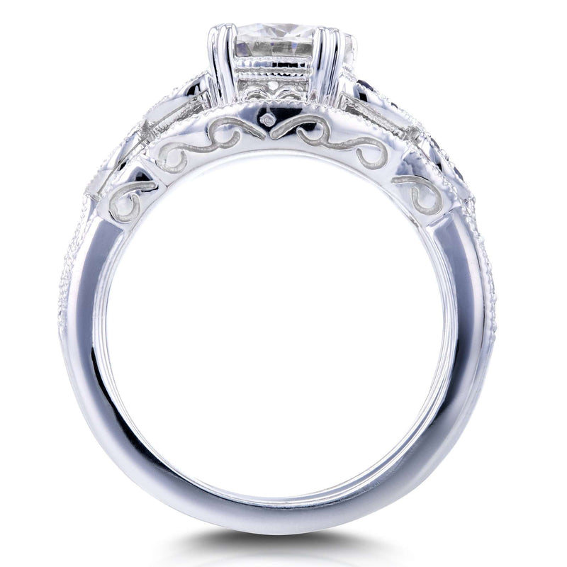 Moissaanite (GH) with Diamond and Sapphire 3-piece Bridal Set 1 3/4ct TGW in 14k White Gold