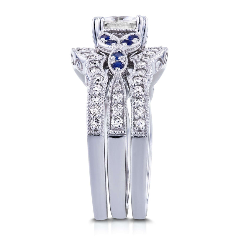 Moissaanite (HI) with Diamond and Sapphire 3-piece Bridal Set 1 3/4ct TGW in 14k White Gold