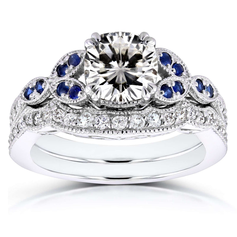 Vintage Floral Cushion Moissanite (HI) with Sapphire and Diamond Accents Bridal Set 1 1/2 Carat TGW in 14k White Gold