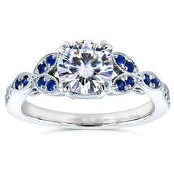 Kobelli Blue Sapphire and Moissanite Engagement Ring