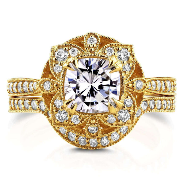Kobelli Antique Floral Cushion Moissanite and Diamond Bridal Set 1 1/2 CTW in 14k Yellow Gold (FG/VS, GH/I)