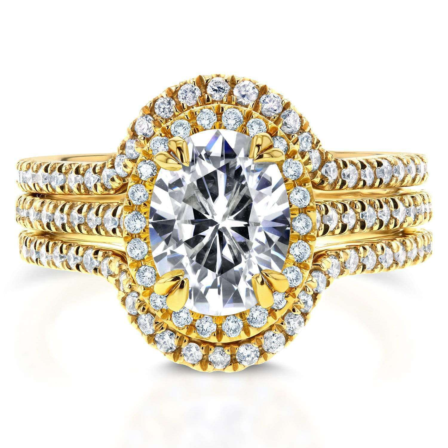 Cheap Oval Moissanite and Lab Grown Diamond Halo 3pc Bridal Rings Set 2 1/4 CTW 14k Yellow Gold (FG/VS DEF/VS) - 7.5