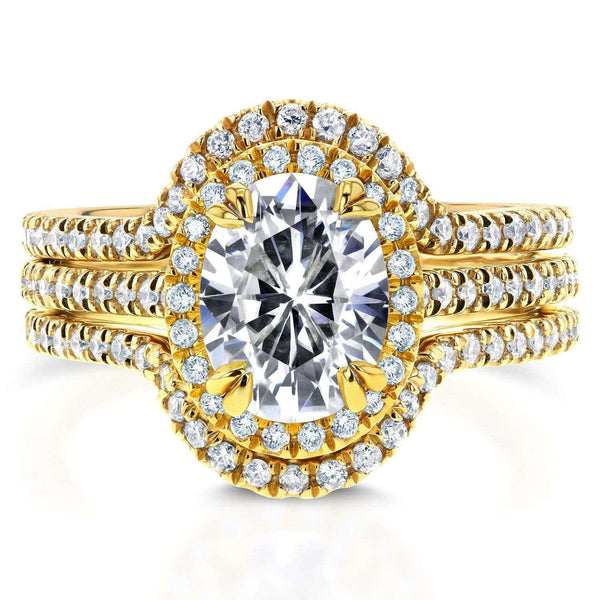 Kobelli Forever One Oval Moissanite and Lab Grown Diamond Halo 3pc Bridal Rings Set 2 1/4 CTW 14k Yellow Gold (DEF/VS)