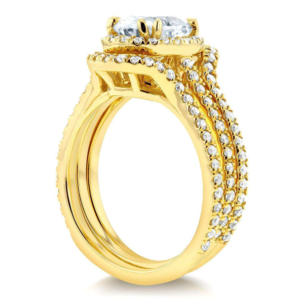 Kobelli Oval Moissanite and Lab Grown Diamond Halo 3pc Bridal Rings Set 2 1/4 CTW 14k Yellow Gold (HI/VS, DEF/VS)