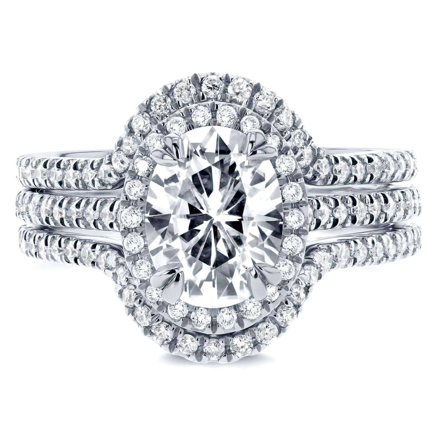 Coupons Oval Moissanite and Lab Grown Diamond Halo 3pc Bridal Rings Set 2 1/4 CTW 14k White Gold (HI/VS DEF/VS) - 7