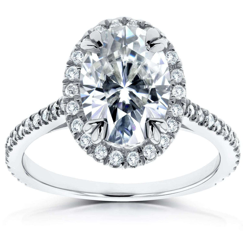 Kobelli Oval Moissanite and Lab Grown Diamond Halo Engagement Ring 1 4/5 CTW 14k White Gold (HI/VS, DEF/VS)