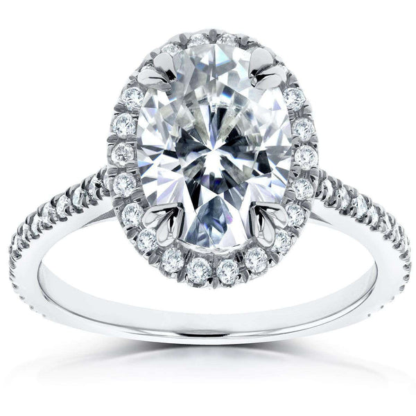Kobelli Oval Moissanite and Lab Grown Diamond Halo Engagement Ring 1 4/5 CTW 14k White Gold (FG/VS, DEF/VS)