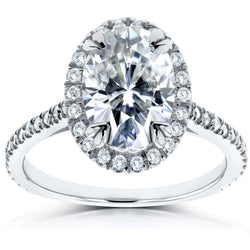 Kobelli Forever One Oval Moissanite and Lab Grown Diamond Halo Engagement Ring 1 4/5 CTW 14k White Gold (DEF/VS)