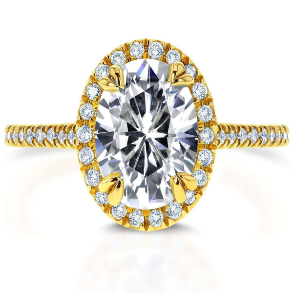 Kobelli Forever One Oval Moissanite and Lab Grown Diamond Halo Engagement Ring 1 4/5 CTW 14k Yellow Gold (DEF/VS)