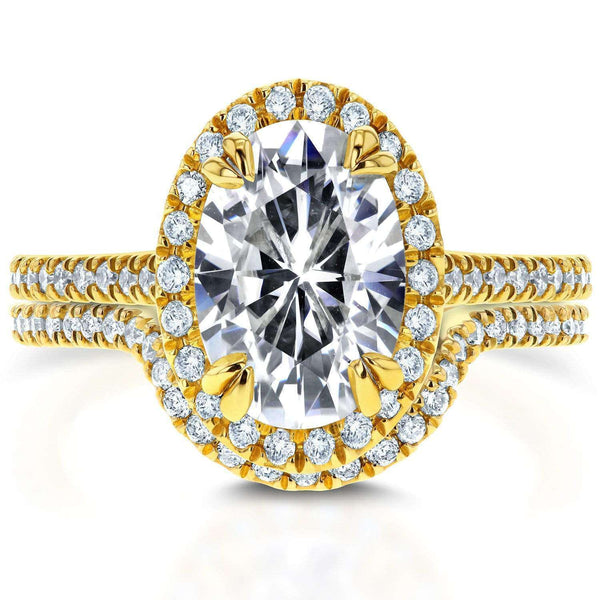 Kobelli Oval Moissanite and Lab Grown Diamond Halo Bridal Rings Set 2 CTW 14k Yellow Gold (HI/VS, DEF/VS)