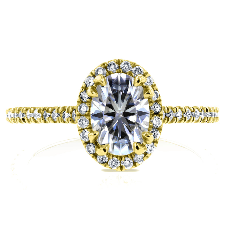 0.9ct Oval Moissanite Ring (Natural Diamond Mounting), 1-1/5 CTW