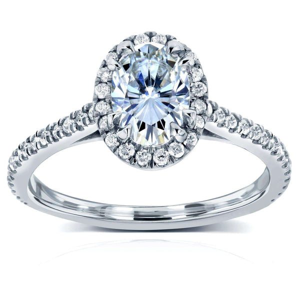 Kobelli Oval Moissanite Engagement Ring with Halo Diamond 1 1/5 CTW 14k White Gold