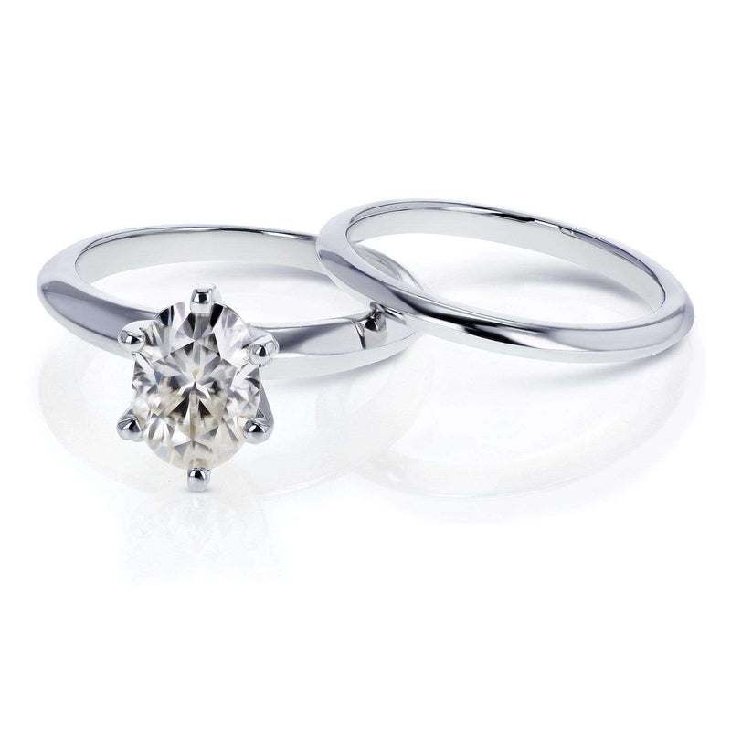 Kobelli Oval Moissanite 6-prong Solitaire Bridal Rings Set 1 1/2 Carat in 14k White Gold
