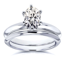 Kobelli Oval Moissanite 6-prong Solitaire Bridal Rings Set 7/8 Carat in 14k White Gold