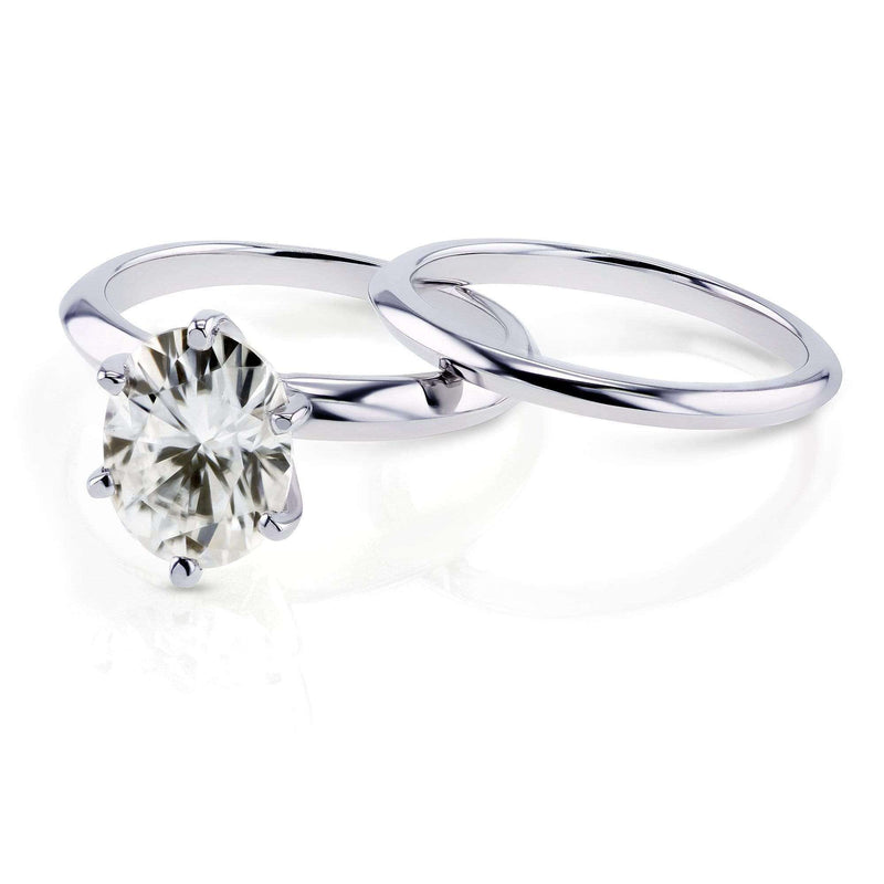 Kobelli Oval Moissanite 6-prong Solitaire Bridal Rings Set 2 1/10 Carat in 14k White Gold