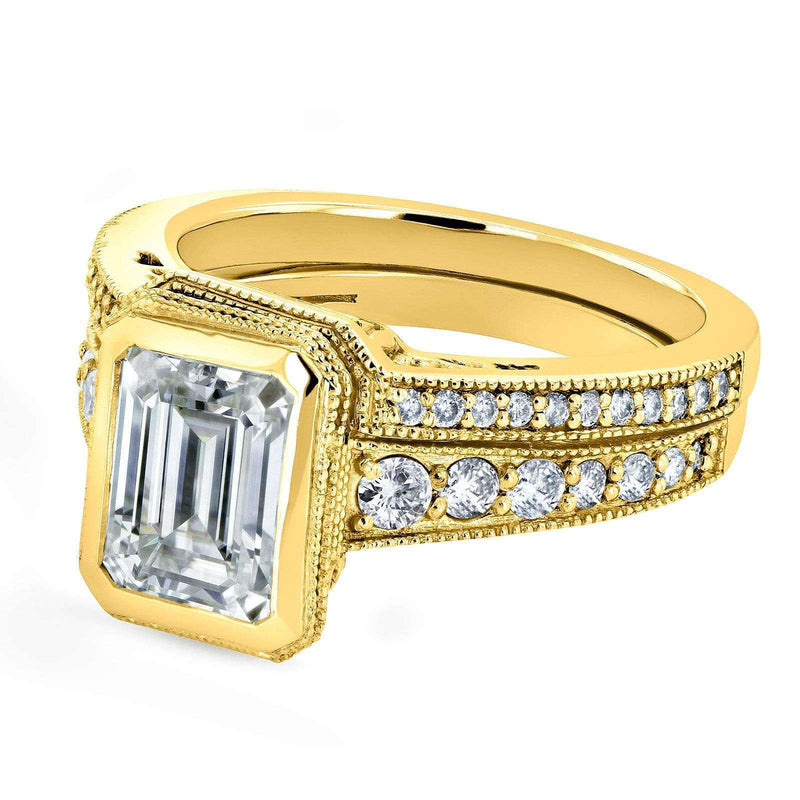 Kobelli Bezel Emerald Cut Moissanite and Diamond Art Deco Bridal Rings Set 2 7/8 CTW 14k Yellow Gold