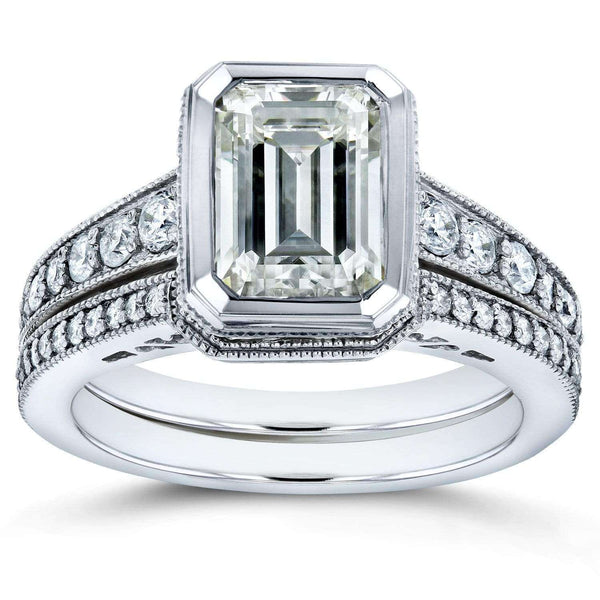 Kobelli Bezel Emerald Cut Moissanite and Diamond Art Deco Bridal Rings Set 2 7/8 CTW 14k White Gold
