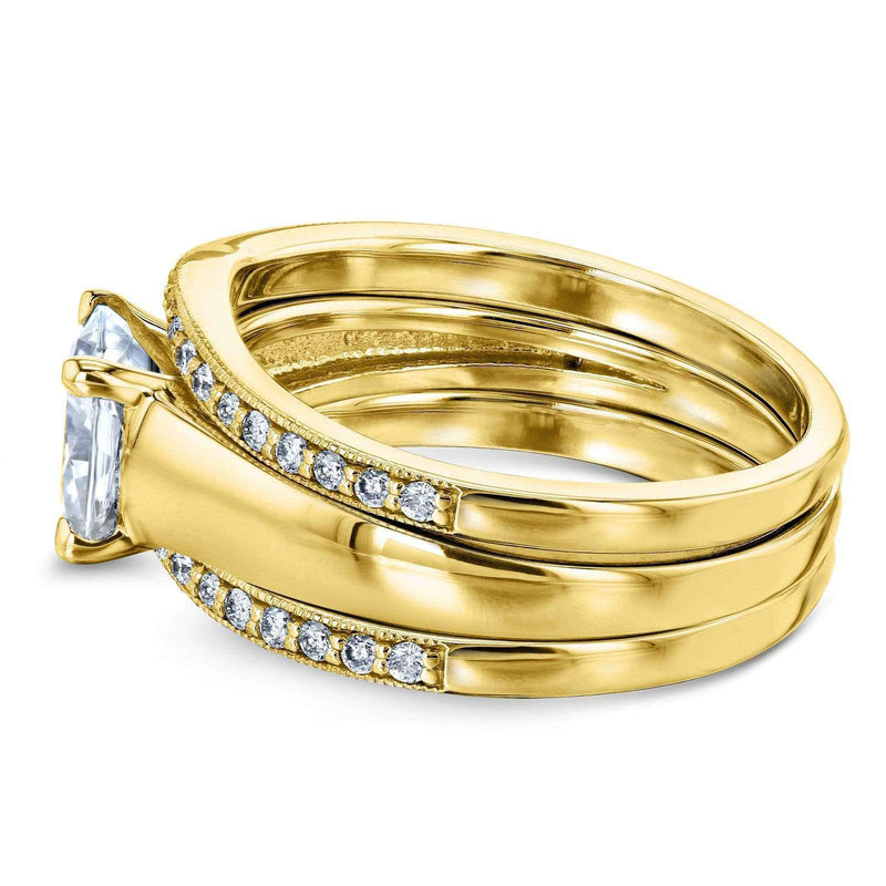 Kobelli Cushion Moissanite Solitaire and Diamond Double Bands 3-Piece Set 1 2/5 CTW in 14k Yellow Gold