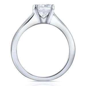 Kobelli Cushion Moissanite Solitaire and Diamond Double Bands 3-Piece Set 1 2/5 CTW in 14k White Gold